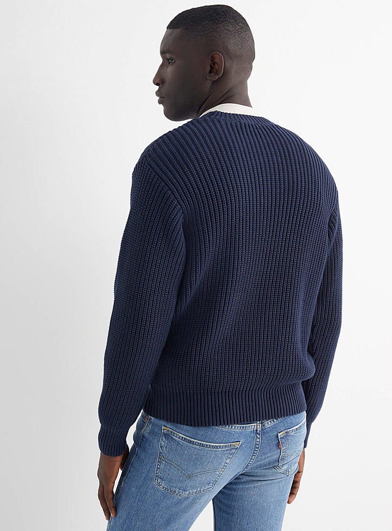 Le 31 Dusky Pink Rib-knit sweater for men