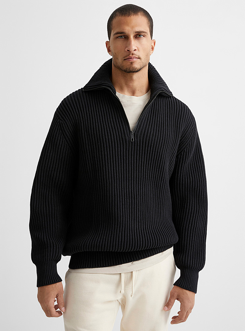 Le 31 Fawn Half-zip ribbed sweater for men