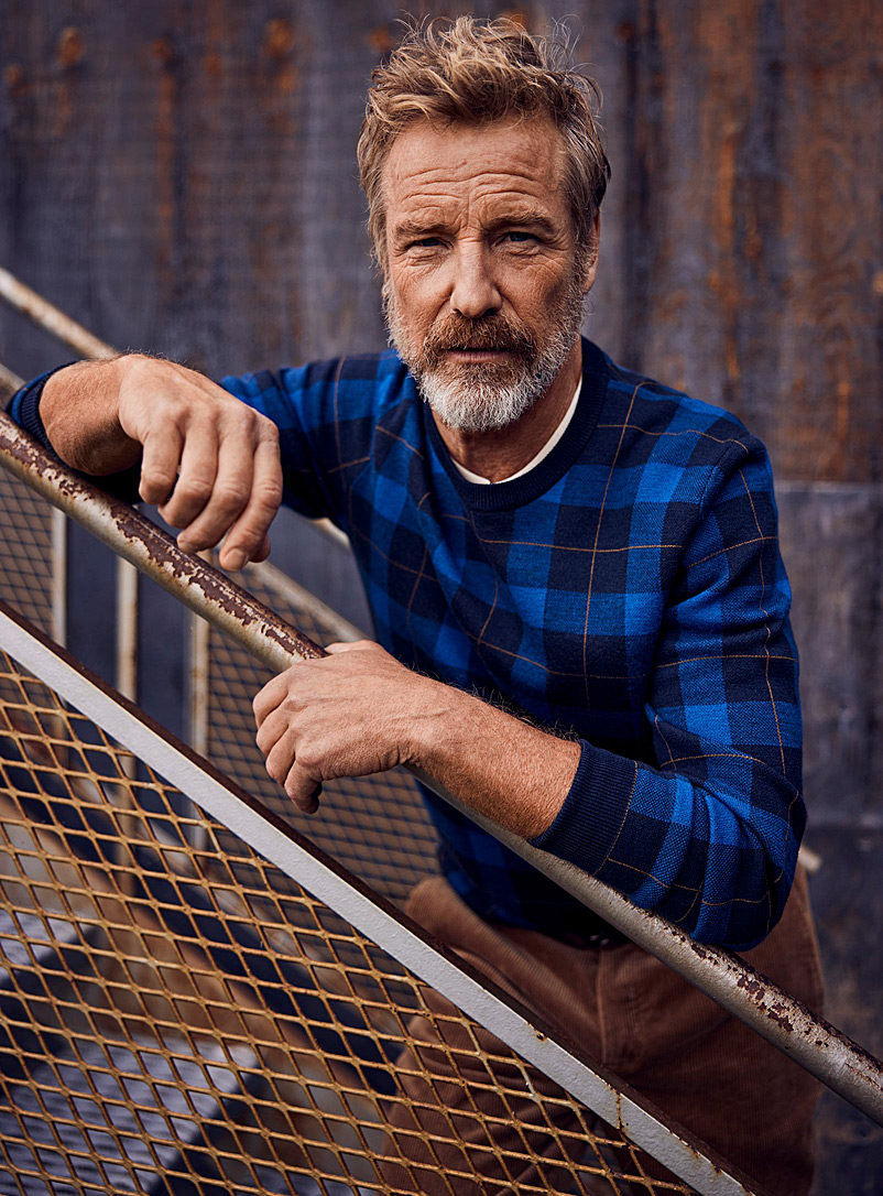 Le 31 Marine Blue Heritage check sweater for men