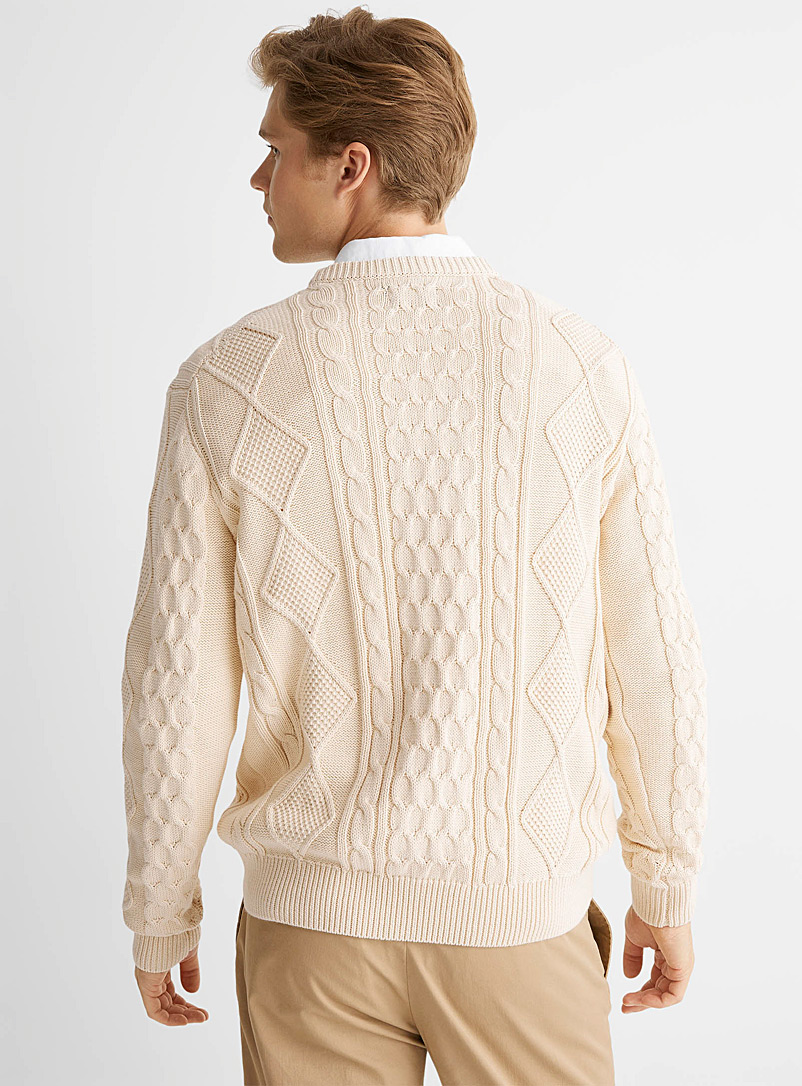 Le 31 Ivory White Coastal cable sweater for men