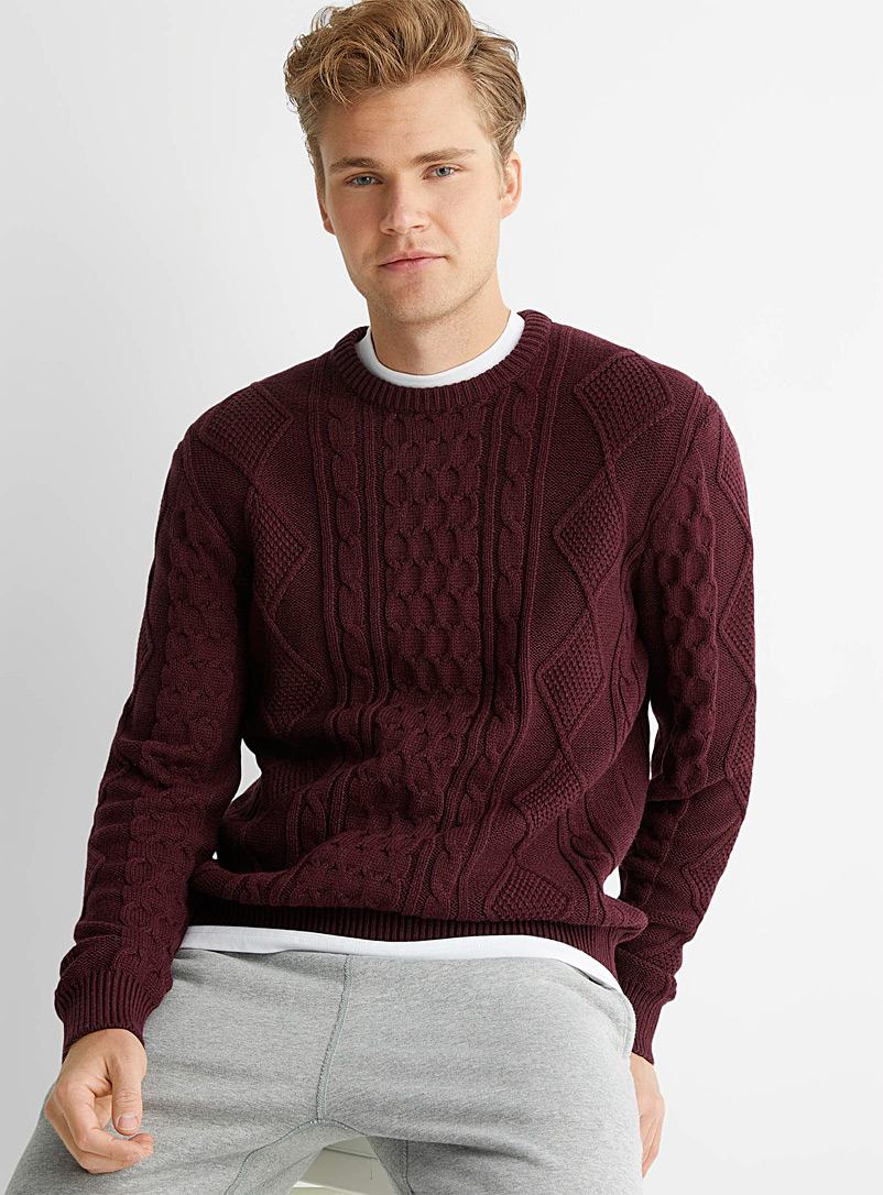 Le 31 Ruby Red Coastal cable sweater for men