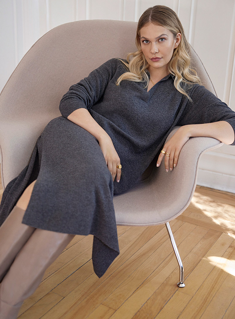 Contemporaine Charcoal Johnny collar wool and cashmere dress for women