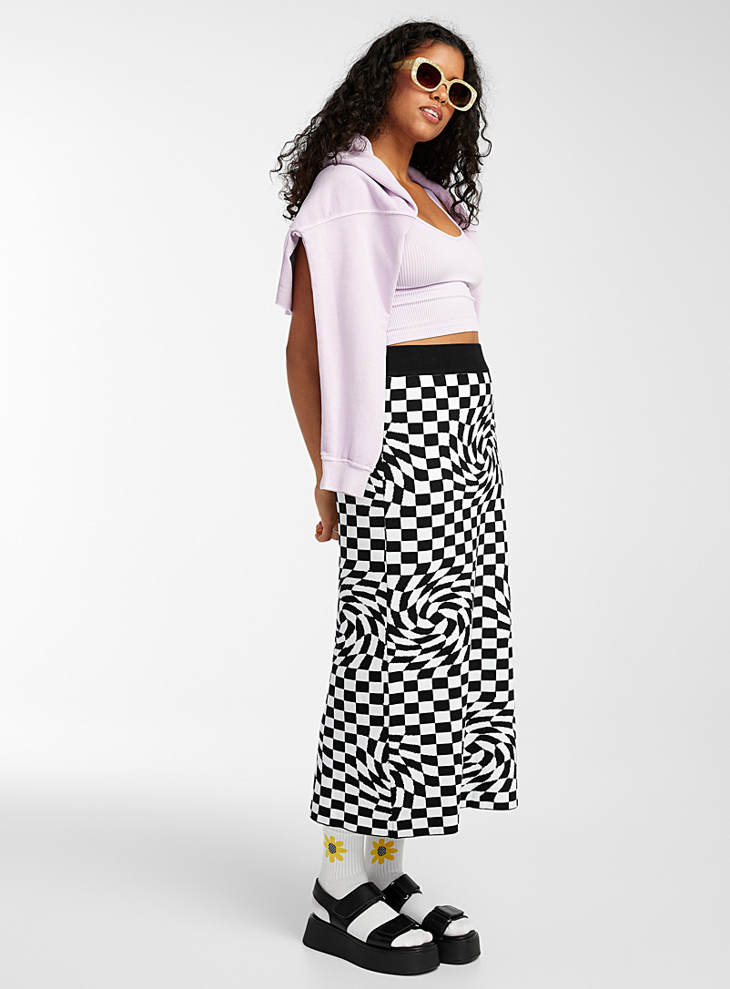 Twik Patterned White Psychedelic checkerboard knit skirt for women