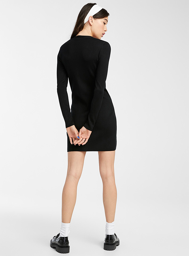 Twik Grey Finely-ribbed buttoned dress for women