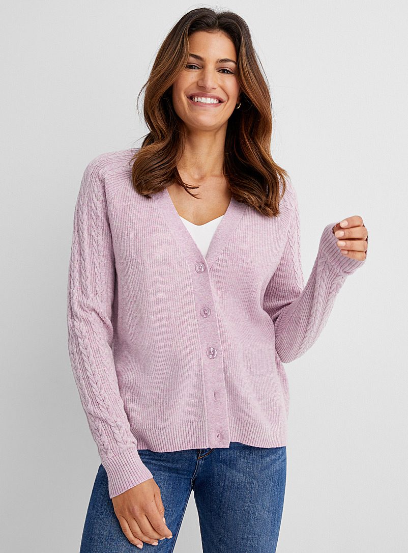 Contemporaine Lilacs Shaker-rib twisted knit sleeve cardigan for women