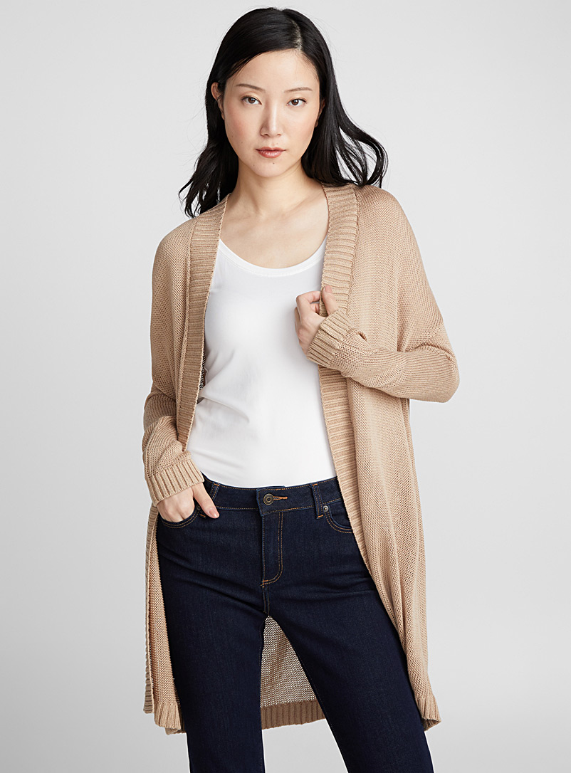Openwork knit open cardigan - Cardigans - Sand