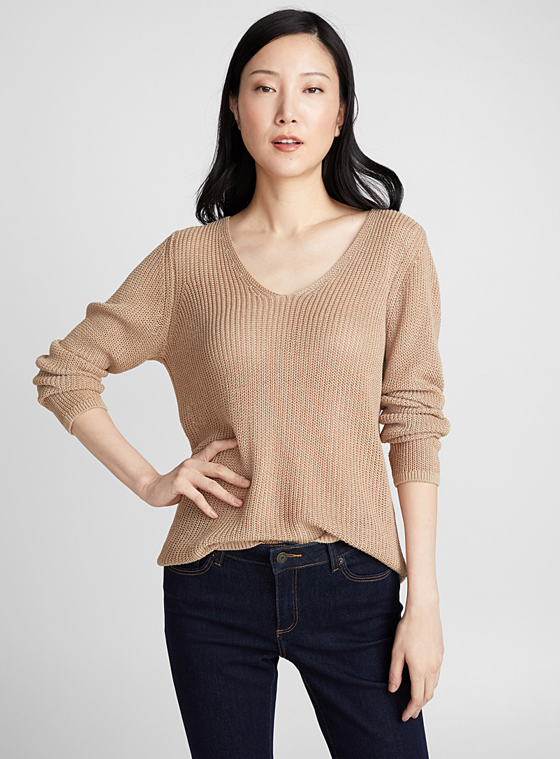 Openwork knit V-neck sweater - Sweaters - Sand
