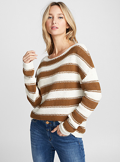 Tape-knit striped sweater