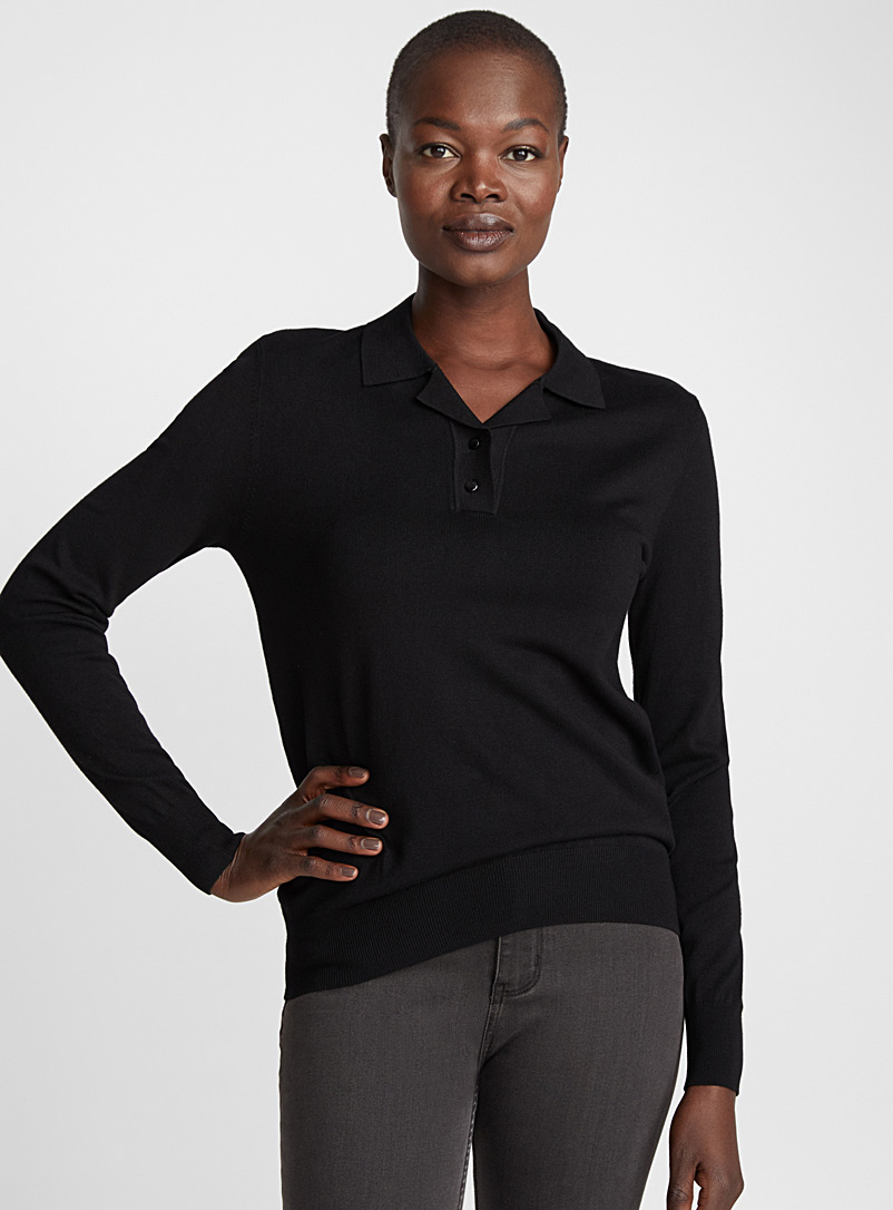 Long-sleeve fine knit polo - Sweaters - Black