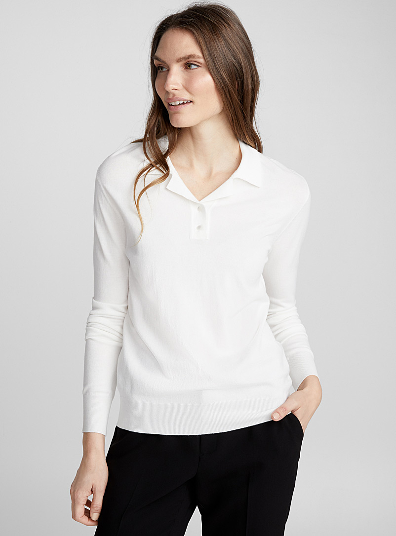 Long-sleeve fine knit polo - Sweaters - Ivory White