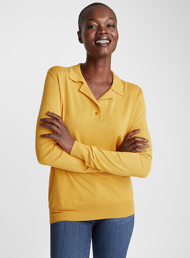 Long-sleeve fine knit polo - Sweaters - Dark Yellow