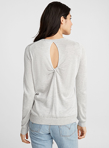 Tied open-back sweater