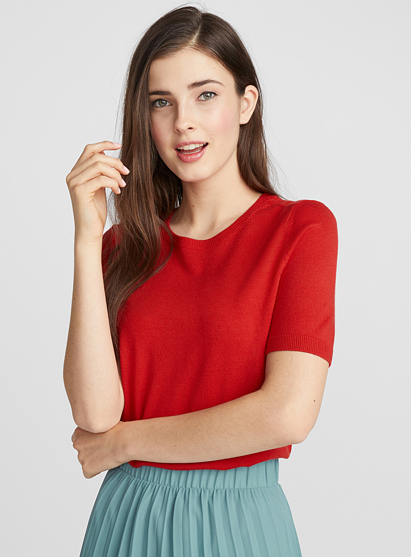 Viscose knit sweater - Sweaters - Red