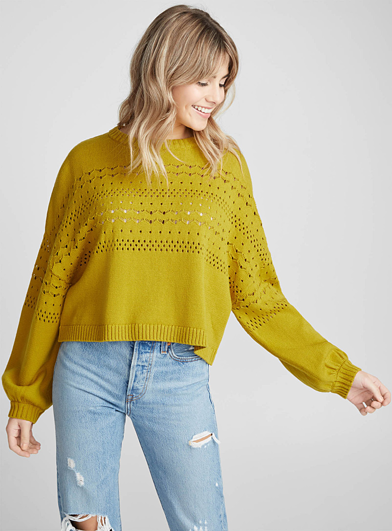 Pointelle pennant sweater - Sweaters - Golden Yellow