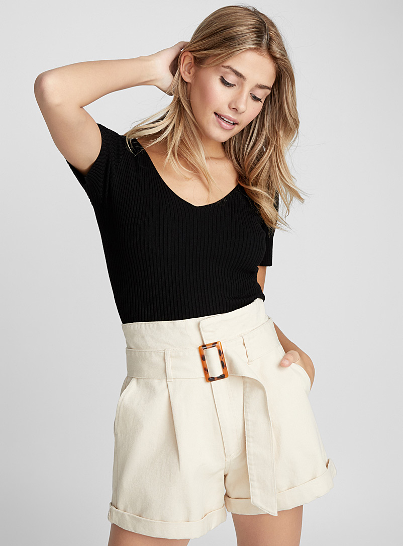 Ribbed cropped tee - Sweaters - Black