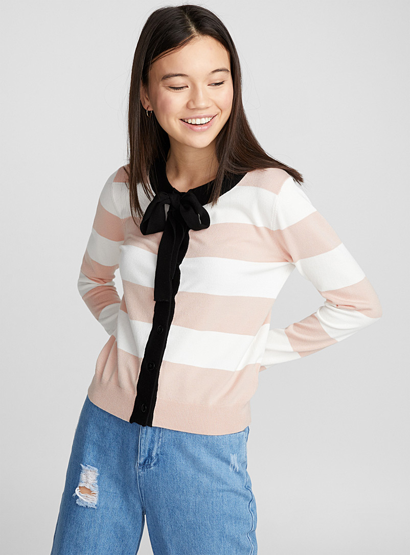 Bow accent cardigan - Cardigans - Pink