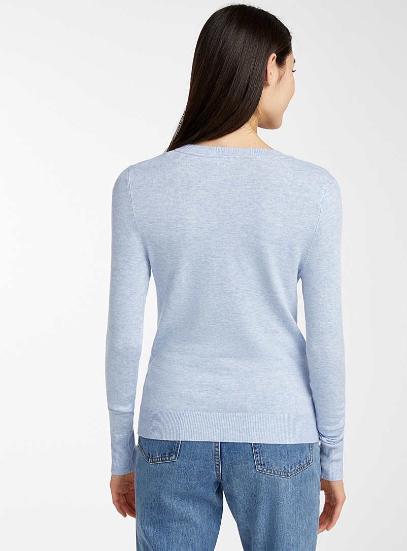 Twik Baby Blue Viscose V-neck sweater for women