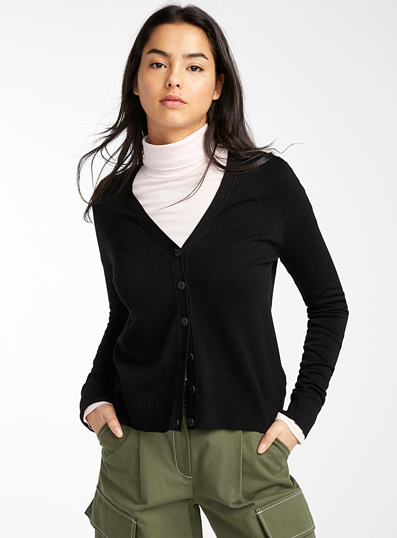 Twik Black Basic V-neck cropped cardigan for women