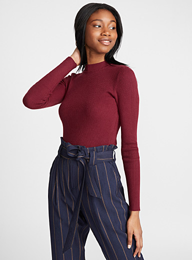 Ribbed cropped high-neck sweater