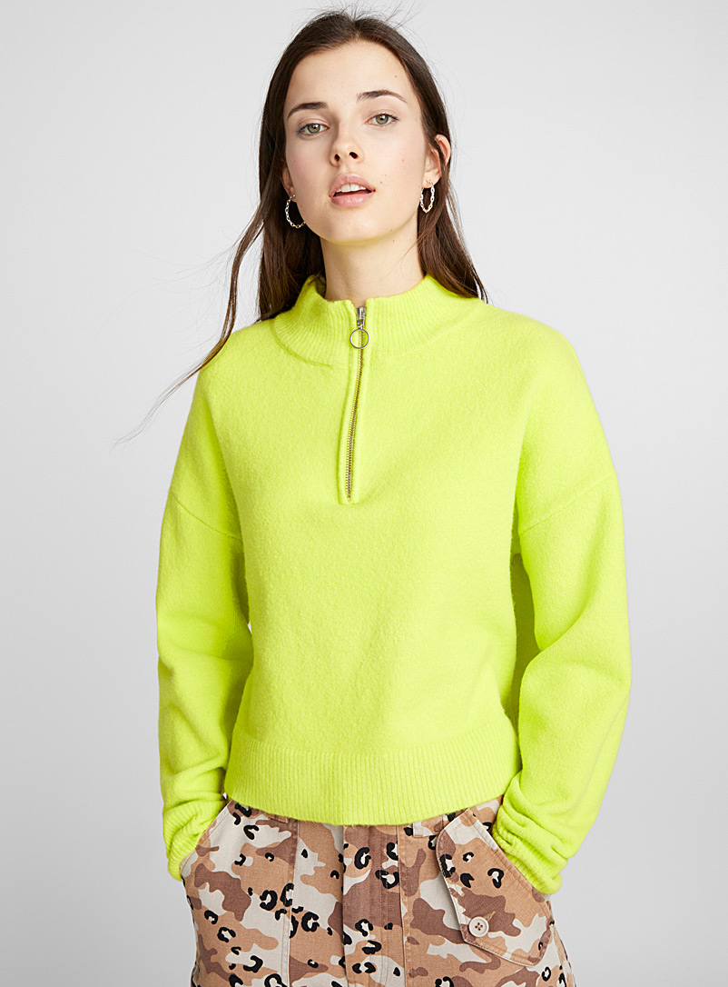 Bouclé knit high neck - Sweaters - Bright Yellow