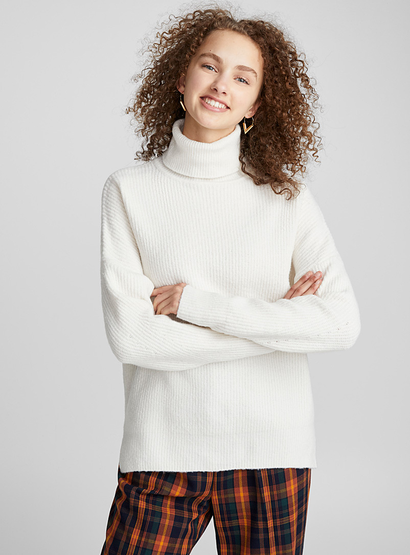 Drop shoulder ribbed turtleneck - Sweaters - Ivory White