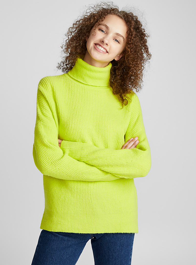 Drop shoulder ribbed turtleneck - Sweaters - Bright Yellow
