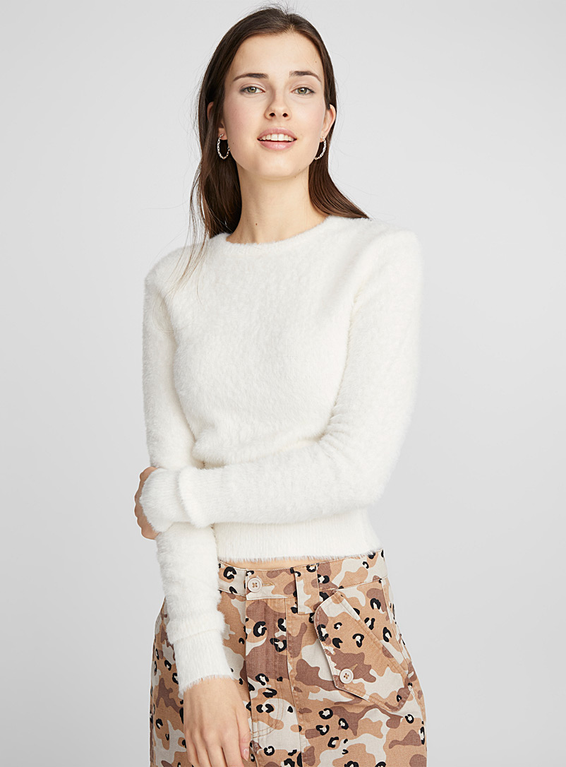 Cropped fuzzy-knit sweater - Sweaters - Ivory White