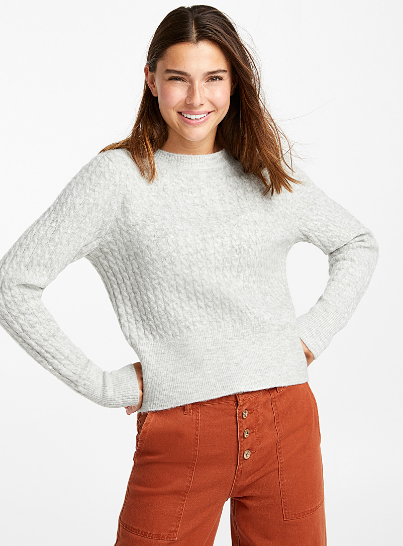 Cropped mini-cable sweater - Sweaters - Light Grey