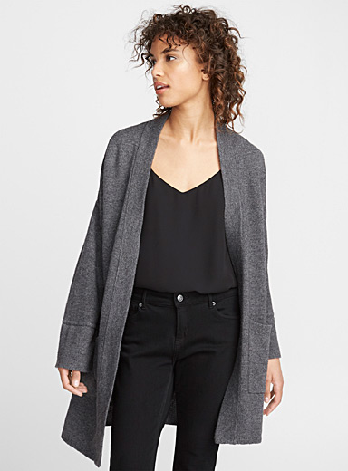 Long drop-shoulder cardigan