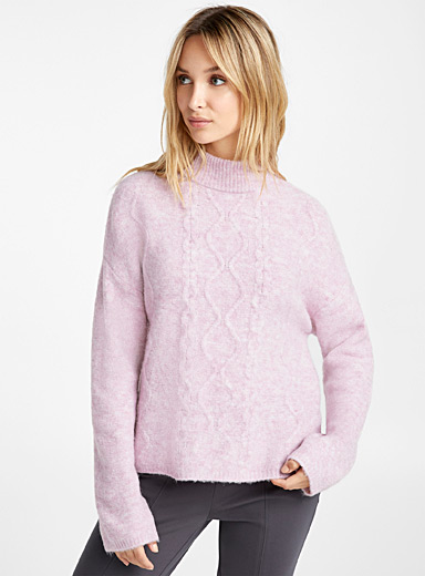 Cable texture mock-neck sweater
