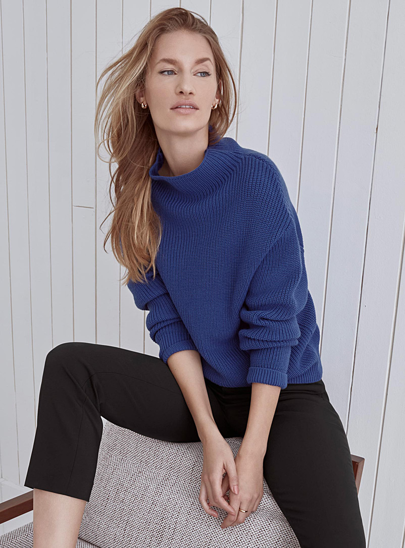Ribbed funnel-neck sweater - Sweaters - Assorted