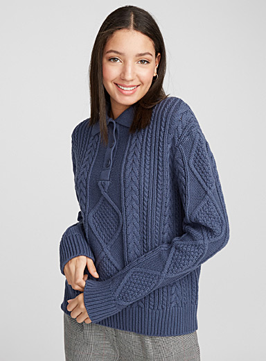 Cable knit polo sweater