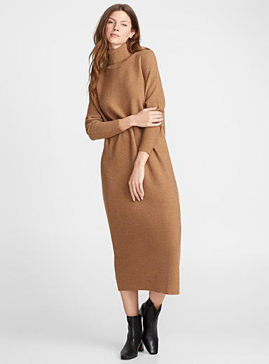Merino wool turtleneck dress
