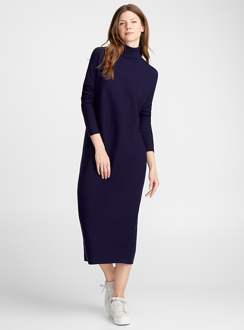 Merino wool turtleneck dress - Straight - Marine Blue