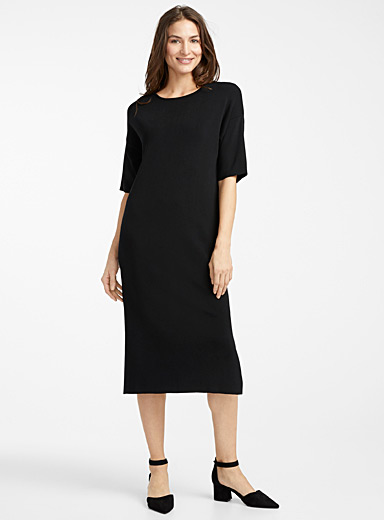 Contemporaine Black Minimalist shiny knit midi dress for women
