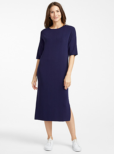 Minimalist shiny knit midi dress