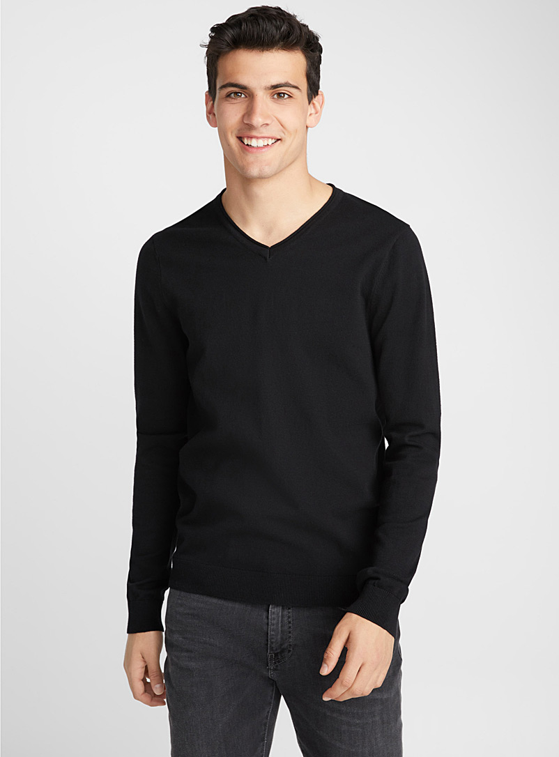 Basic V-neck sweater - Cotton - Black