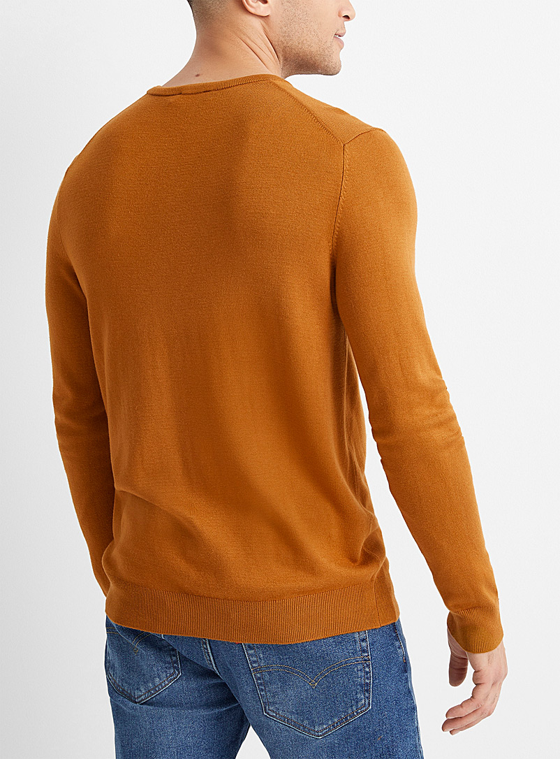 Le 31 Bottle Green Bamboo rayon V-neck sweater for men
