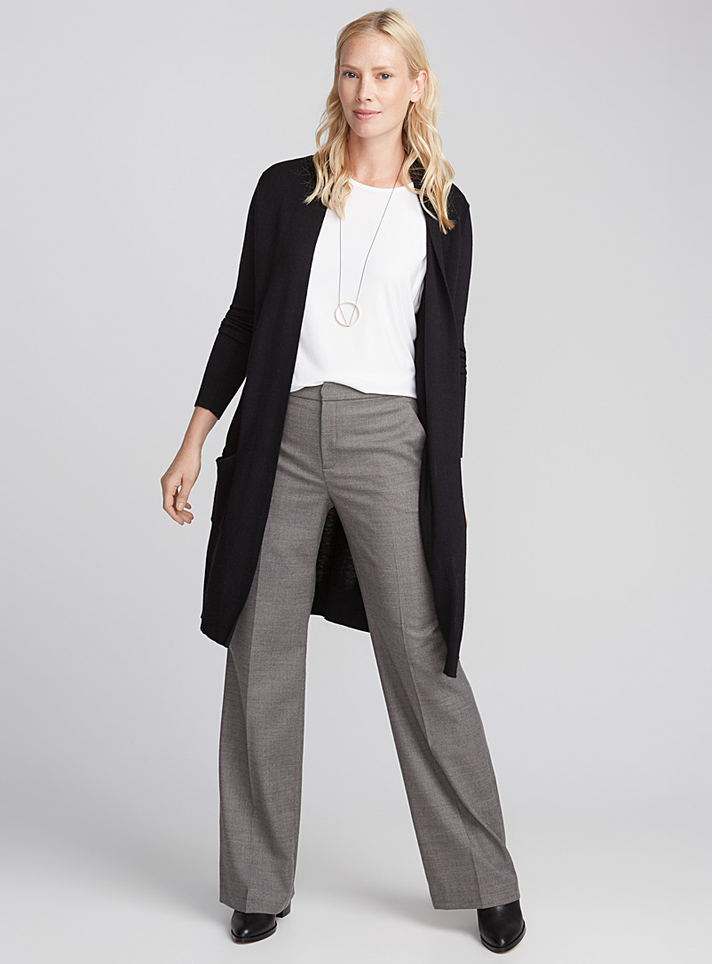 Long textured rib cardigan - Cardigans - Black