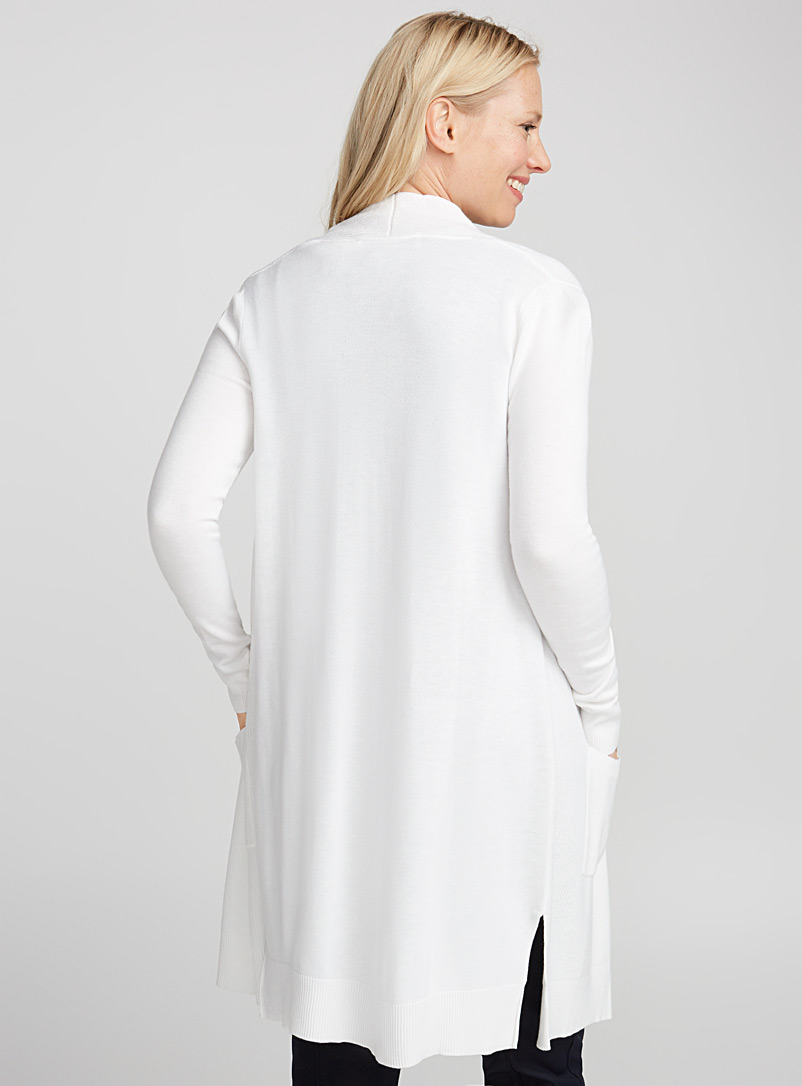 Long textured rib cardigan - Cardigans - White