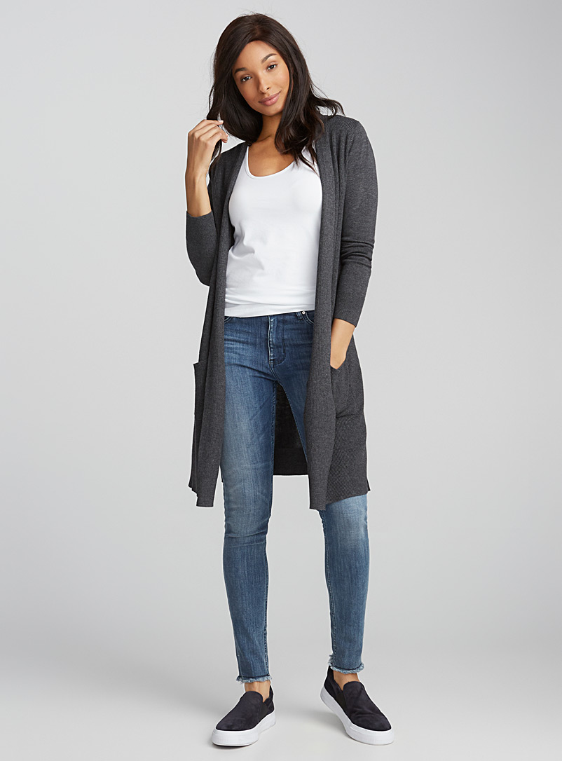 Long textured rib cardigan - Cardigans - Charcoal