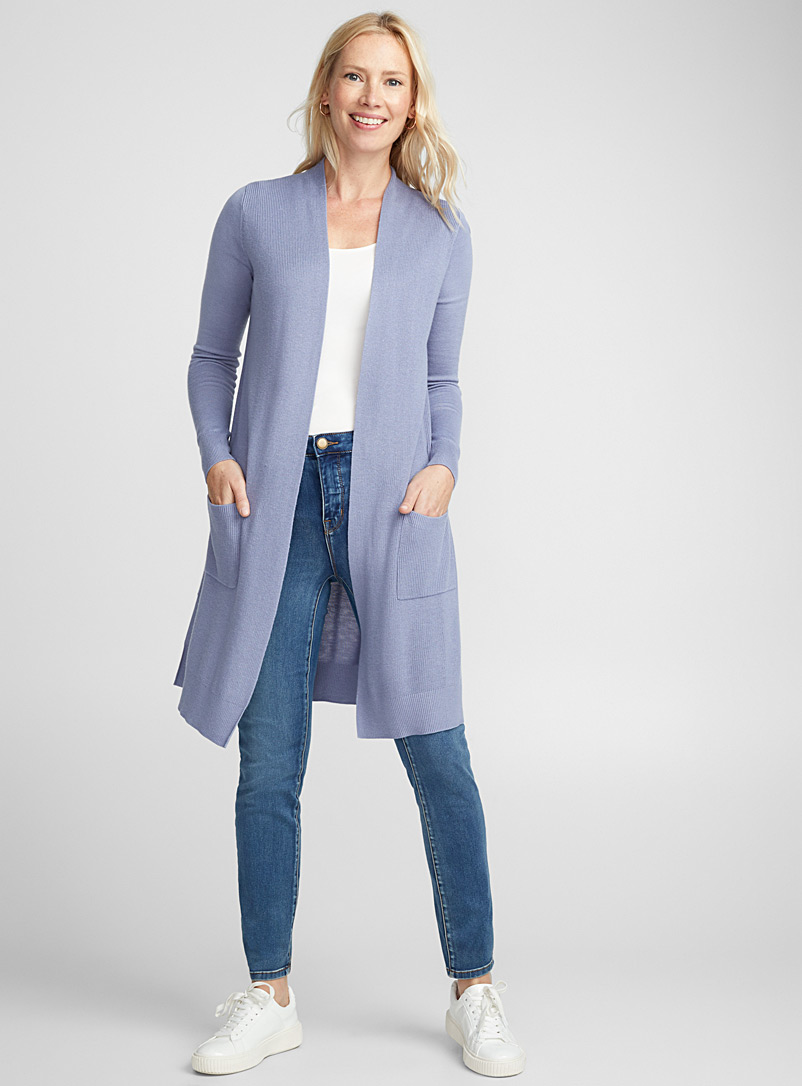 Long textured rib cardigan - Cardigans - Blue