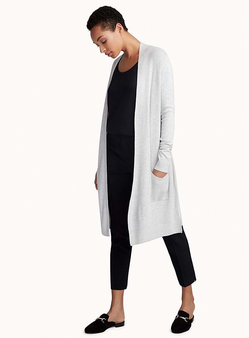 Long textured rib cardigan - Cardigans - Light Grey