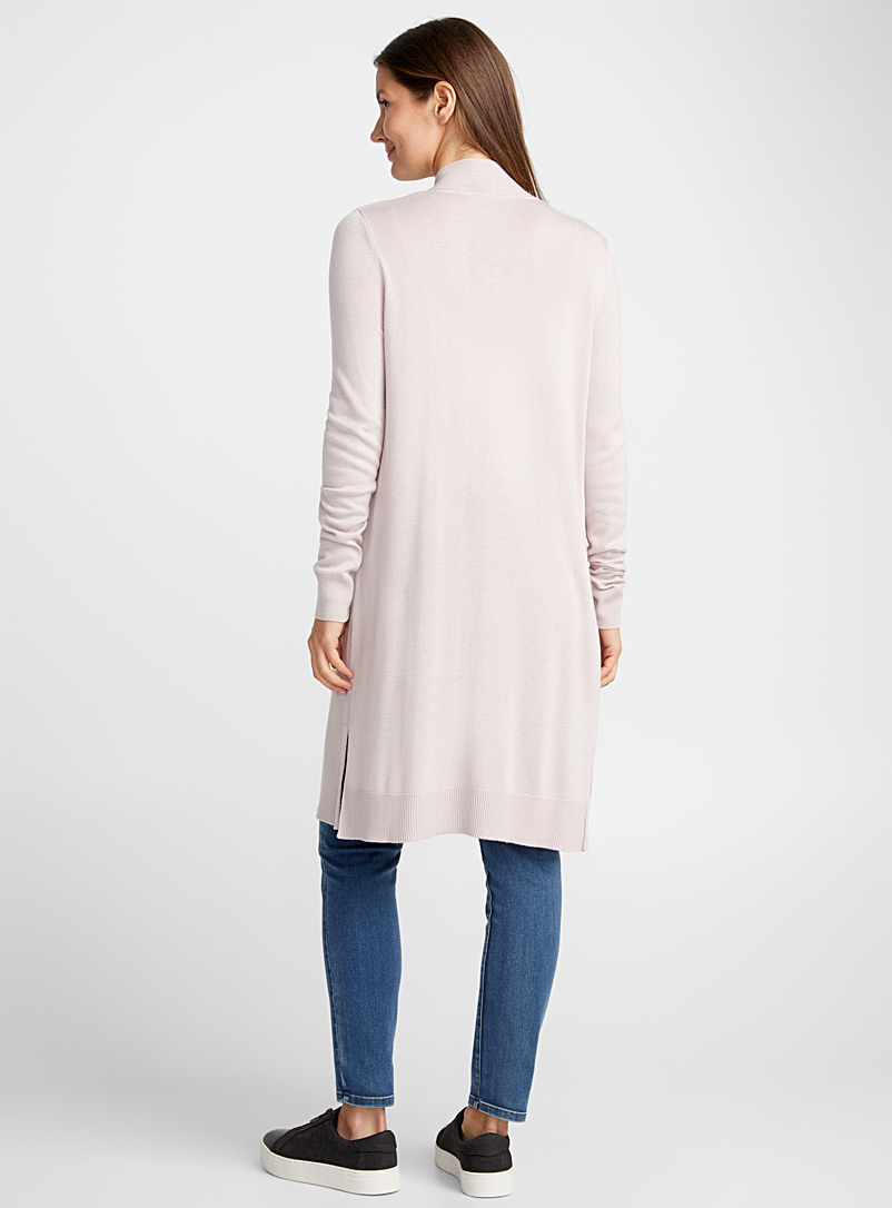Long textured rib cardigan - Cardigans - Pink