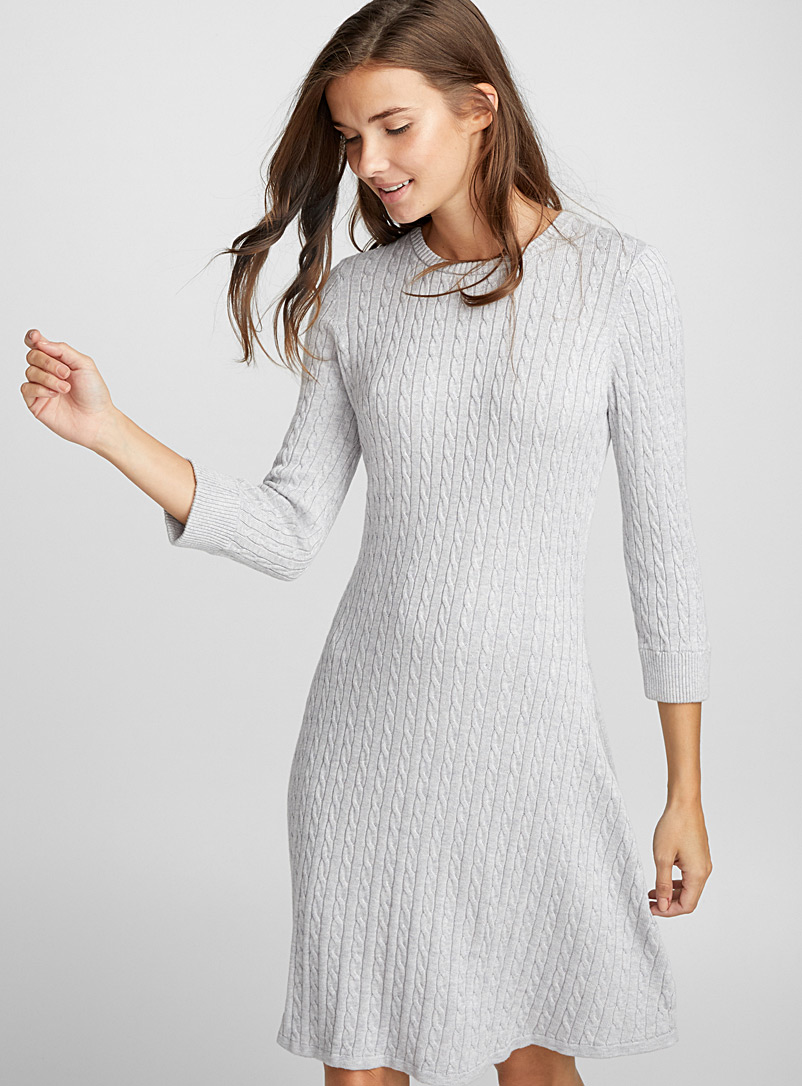 Mini cable knit dress - Fit & Flare - Light Grey
