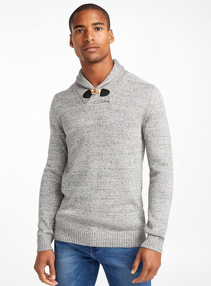 Rustic shawl-collar sweater - Cotton - Charcoal