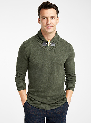 Rustic shawl-collar sweater