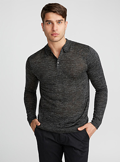 Polo collar heather sweater