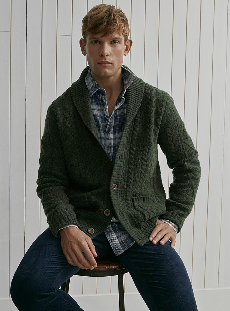 Twisted cable shawl-collar cardigan - Lambswool - Mossy Green