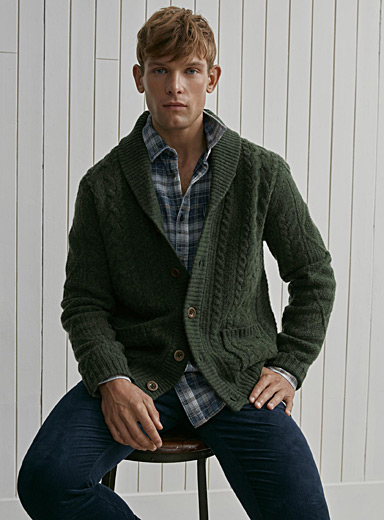 Twisted cable shawl-collar cardigan